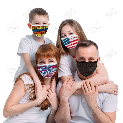 3 Layers of Fabric Sublimation Reusable Cotton Face Mask